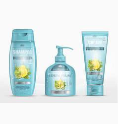 Shampoo packaging cream tube soap bottle vector