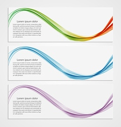 Collection banners modern wave design Colorful vector image
