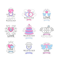 happy wedding and love set for logo design vector image vector image