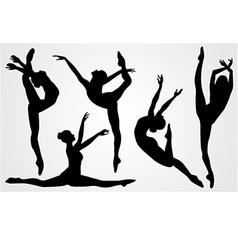 black silhouettes of a ballerina vector image