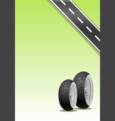 motorcycle tyre on a green background vector image vector image