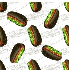 Seamless pattern hot dog scetch and color vector image vector image