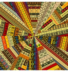 Sunburst made of patchwork fabric witf ethnic vector image vector image