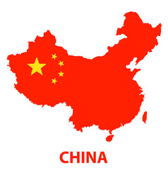 the detailed map of the china with flag vector image vector image