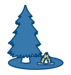 tree pine and bonfire vector image