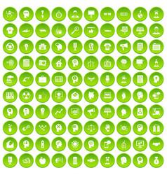 100 idea icons set green circle vector