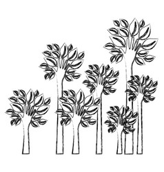 silhouette blurred set palms with trunk in hands vector image