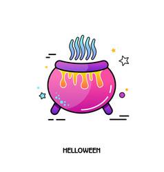 witch cauldron icon halloween sticker vector image