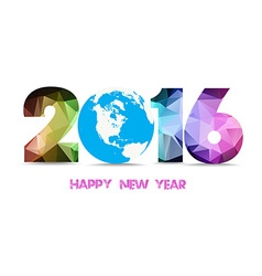 2016 happy new year globe and geometrical vector