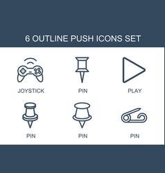 6 push icons vector