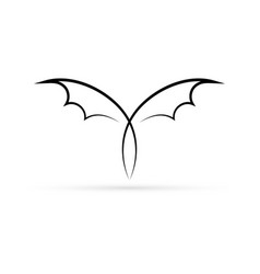 Abstract linear bat icon vector