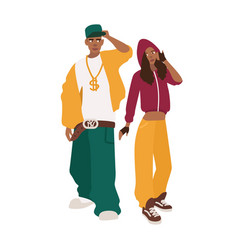 African american man and woman dressed in loose vector