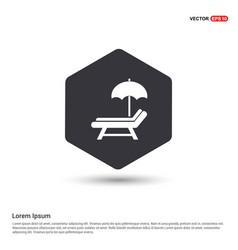 Beach umbrella and bed icon hexa white background vector