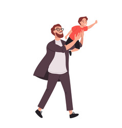 Bearded man carrying young boy smiling dad vector
