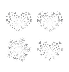 Beautiful heart-fireworks set silver romantic vector