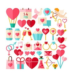 Big Flat Style Collection of Valentine Day Objects vector image
