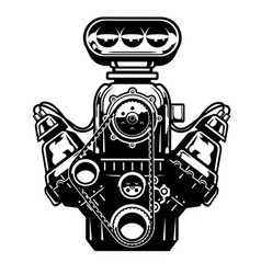 Big muscle car engine vector