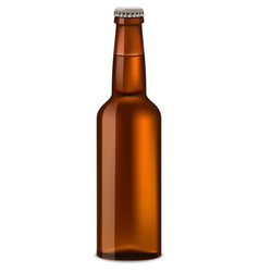 bottle of beer mockup realistic style vector image