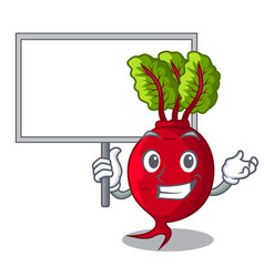 Bring board cartoon fresh harvested beetroots in vector