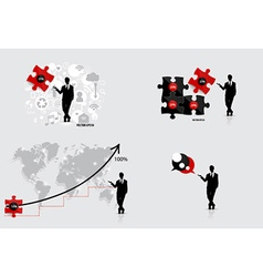 Business concept with businessman graph puzzle vector