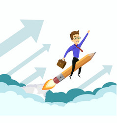 Businessman flying on a rocket up in sky vector