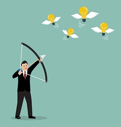 Businessman with a bow and arrow hitting the light vector