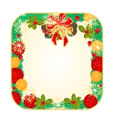 Button square Christmas Spruce and poinsettia vector image