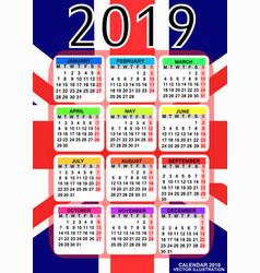 calendar 2019 with flag of england vector image