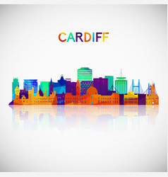 cardiff skyline silhouette in colorful geometric vector image