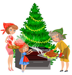 cartoon mother child and grandmother putting vector image