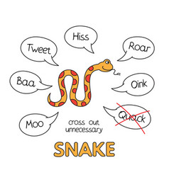 cartoon snake kids learning game vector image