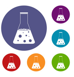 chemical flask icons set vector image