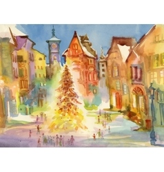 Christmas holiday city center Watercolor vector