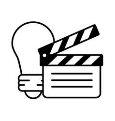 Clapperboard bulb idea vector