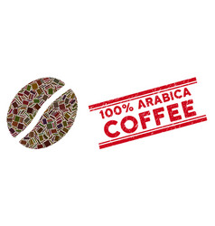 Coffee bean mosaic and scratched 100 percent vector