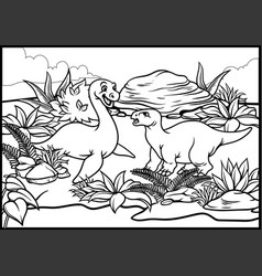 Coloring page of two cartoon of dinosaurs vector
