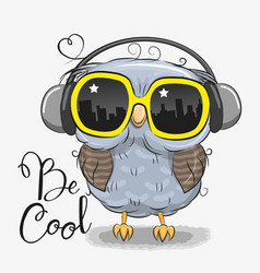 Cute owl with sun glasses vector