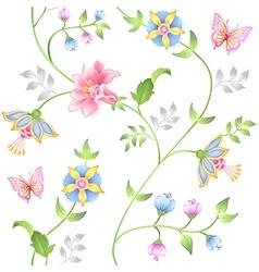 Decor floral elements seamless set vector image