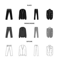 Design of man and clothing symbol set of vector