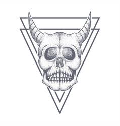devil skull triangle bage vector image