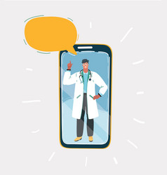 doctor in medical uniform on screen vector image