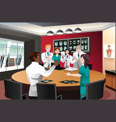 doctor meeting with diagnosis team vector image