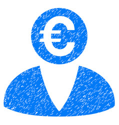 Euro banker grunge icon vector