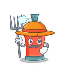 Farmer aerosol spray can character cartoon vector
