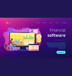 Financial data management concept landing page vector