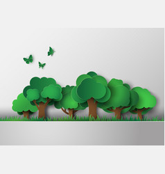 forest with trees and grass vector image