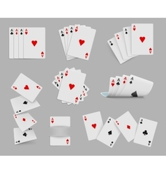 Four aces playing cards set vector