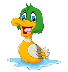 Funny baby duck cartoon vector