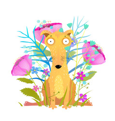 funny dog sitting with flowers greeting card vector image