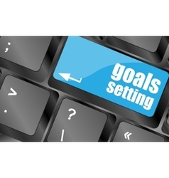 Goals setting button on keyboard with soft focus vector image